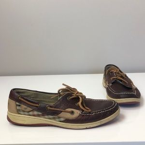 Sperry Top- Sider Dark Brown W Plaid Boat Shoes